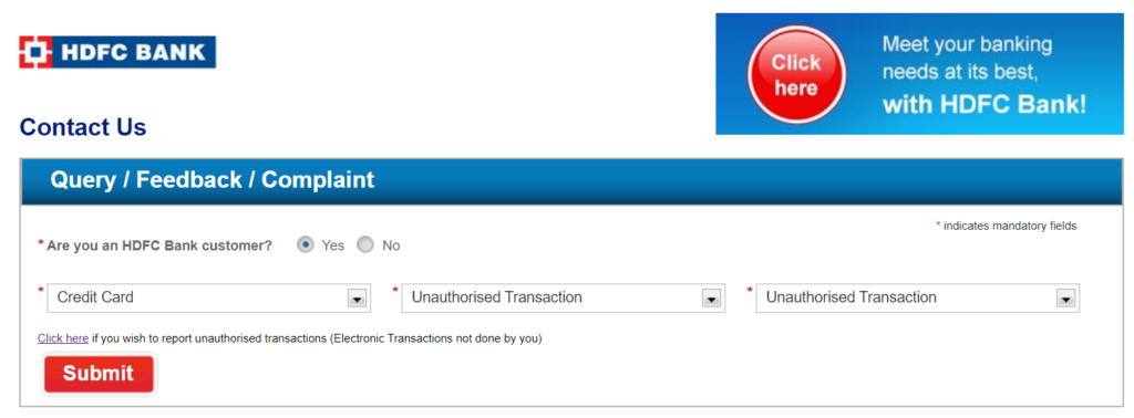 HDFC Credit Care Customer Care Email